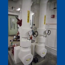 11. Heating hot water pipe and base mounted pumps