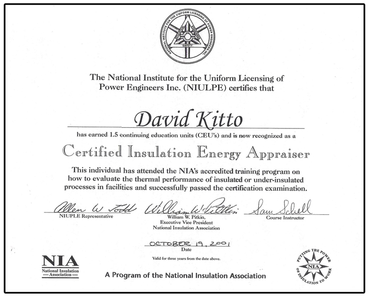 Dave IEAP Certificate 2001